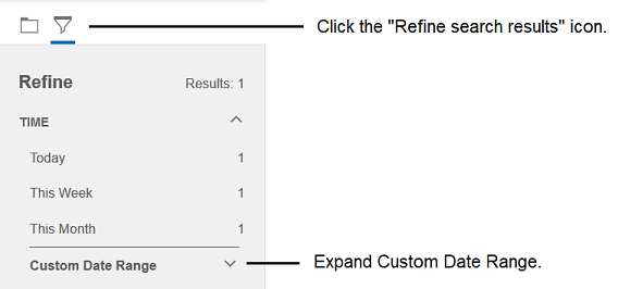 Picture of the Custom Date Range search option